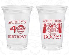 40th Birthday Soft Sided Cups, Halloween Birthday, Mummy Birthday, Disposable Birthday Cups (20291)