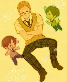 Awww!!! <3 <3 <3 Germany and the chibi Italian Bros! And in school uniforms too! *happy sigh*