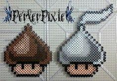 Hershey Kisses mushrooms perler beads by PerlerPixie Fuse Bead Patterns, Perler Patterns, Beading Patterns, Perler Bead Templates, Diy Perler Beads, Pixel Art, Perler Bead Mario, Pearl Beads Pattern, Art Perle