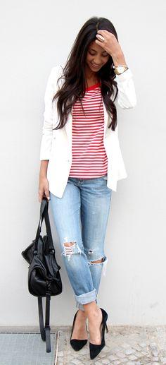 red stripe shirt, stripes, boyfriend jeans, white blazer, cos, aldo shoes, ootd, not your standard, blogger, style, berlin, how to wear boyf...