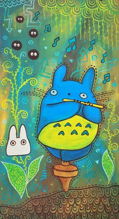 Totoro Party - ORIGINAL PAINTING on Etsy, € 90,61