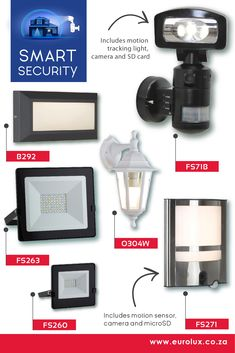 Options available for Smart Security. A variety of outdoor Flood and Security Lighting options. Security Lighting, Wall Lights, Ceiling Lights, You Are The World, Light Table, Sd Card, Outdoor Lighting, Indoor, Projects