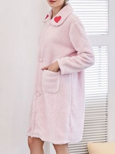 SHARE & Get it FREE | Heart Embroidered Flannel Night Robe - Light Pink XlFor Fashion Lovers only:80,000+ Items • New Arrivals Daily Join Zaful: Get YOUR $50 NOW!