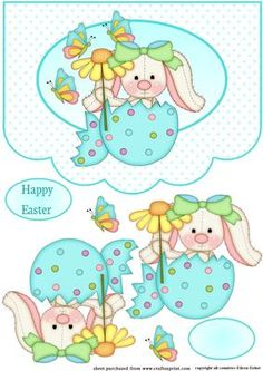 Easter Bunny in an egg on Craftsuprint designed by Eileen Deliot - A nice card with scalloped edges and an easter bunny in an egg - Now available for download!