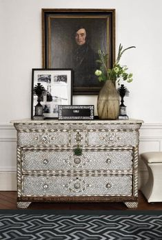 An Indian set of drawers inlaid with mother-of-pearl in the master bedroom.