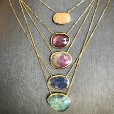 14 K Solid Gold Gemstone Pendant Necklace  Ready to Ship