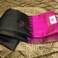 Exclusive Gadwal Saree Collection From Kushi Designers !!  BUY NOW - http://www.kushidesigners.in/Black-small-checks-body-with-pink-border-gadwal-pattu-saree We do undertake blouse designs and stitching.. For more info write us - kushidesigners@gmail.com , Whats app @ 9866108589 , Call - 040-40031889