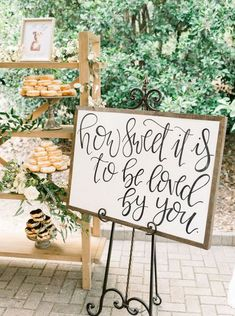 Donut mind if we do! 🍩 This calligraphy + donut set-up is a fun way to spice … Donut mind if we do! 🍩 This calligraphy + donut set-up is a fun way to spice up your dessert table. 😍 Traditional wedding cake 🍰 will never… Dessert Bar Wedding, Wedding Desserts, Wedding Cakes, Cake Tables For Weddings, Mini Desserts, Wedding Table Toppers, Table Wedding, Wedding Signing Table, Wedding Cake Table Decorations