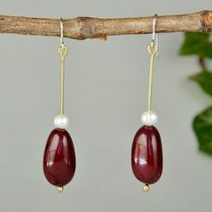 Garnet tagua earring, vegetable ivory drops, pearl earring, eco-chic earring, long white pearl drops, natural bead jewelry, gift for myself by ColorLatinoJewelry on Etsy