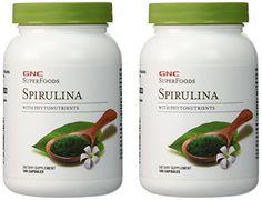 GNC Superfoods Spirulina 2 Packs each of 100 Capsules >>> Visit the image link more details.