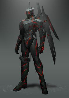 The Reza flight suit is the Trireme of the New Age. Glowing with energy, this suit can fly faster than any made yet. It's armor can move to make a ram to go through anything from mountains to mice, or it can form weapons for close quarters combat. Robot Concept Art, Armor Concept, Superhero Design, Robot Design, Fantasy Armor, Sci Fi Fantasy, Character Concept, Character Art, Arte Robot