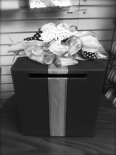 Graduation card box by Lisa's Gift Wrappers. Let us decorate it in school colors!