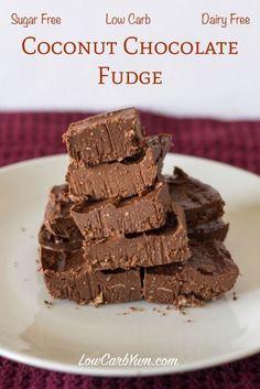 Dairy Free Coconut Chocolate Fudge | Low Carb Yum | LCHF THM Keto Sugar Free Healthy Snack Dessert Recipe