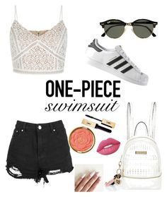 """Untitled #1"" by nuria-moreso ❤ liked on Polyvore featuring New Look, adidas, River Island, Ray-Ban, Lime Crime, Milani and onepieceswimsuit"