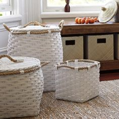 Serena & Lily -Rope Bin Collection - White Woven by hand of squared-off rattan with a thick jute rope wrapped around the top, these rugged bins are easy to tote from playroom to bedroom to laundry room. Decorative Storage Bins, Baby Storage, Kids Storage, Storage Baskets, Decorative Pillows, Decorative Baskets, Painted Baskets, Entryway Storage, Nursery Storage