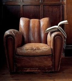 In a wood-panelled room in a deep, worn leather chair. Vintage Sofa, Leather Club Chairs, Leather Sofa, Living Room Update, Sofa Seats, Take A Seat, Cool Furniture, Furniture Ideas, Lounge
