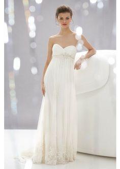 Strapless Tulle&Chiffon Fabric Maternity Wedding Dress