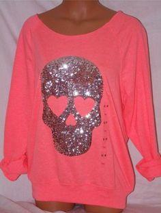 Victorias Secret Pink Sweatshirt Slouchy Crew Bling Skull
