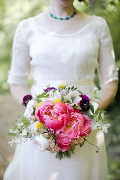 #Bouquet #Peony mixed | See more of this City Hall Wedding on SMP: http://www.stylemepretty.com/california-weddings/san-francisco/2013/12/17/san-francisco-city-hall-wedding-2/ Jasmine Lee Photography