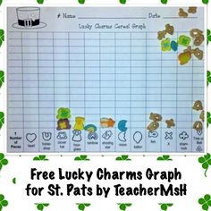 FREE St. Patrick's Day Lucky Charm Math Graph. In addition to marshmallows it includes space for cereal pieces to be graphed too! This is a sample from a larger product that includes more math activities, literacy lessons, and crafts. FREEBIE for St. Patricks Day