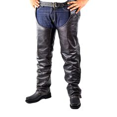 Mens Detour Premium Plain Leather Chaps 8551