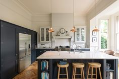 The Crystal Palace Kitchen - deVOL Kitchens Cobalt + Gold- Unfitted Kitchen, Kitchen Cupboards, Kitchen Reno, New Kitchen, Kitchen Ideas, Kitchen Layout, Kitchen Shop, Kitchen Units, Kitchen Designs