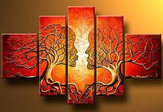 Kiss of Nature 5 panel Multi Canvas Painting by LoveCustomArt
