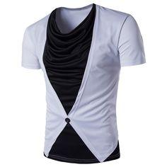 Horror shark mouth Funny Men/'s T-shirt Ringer Cotton Black Short Sleeve Tops Tee