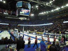 Opening draw of the 2013 Brier at Rexall Place in Edmonton. Basketball Court, Canada, Draw, Places, Lugares, To Draw, Drawings, Paintings, Tekenen