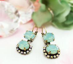 Mint Crystal Earrings Crystal Drop Dangle Earrings