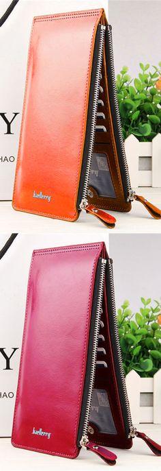 Women Waxy Ultra Thin Leather Long Purse Elegant Card Multi Card Holder Phone Wallets Coin Bags. #women #purse #fashion