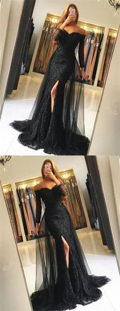Black Lace Tulle Newest Mermaid Prom Dress, Long Sleeves #promdresses, #TulleEveningdress, 6665787
