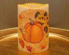 LED Pillar Candle With Pumpkins, Sunflowers And Fall Leaves by DontForgetTheFlowers on Etsy Fall Candles, Flameless Candles, Pillar Candles, Wrapping Paper Bows, Gift Wrapping, Fall Leaves, Golden Yellow, Pumpkin Decorating, Sunflowers