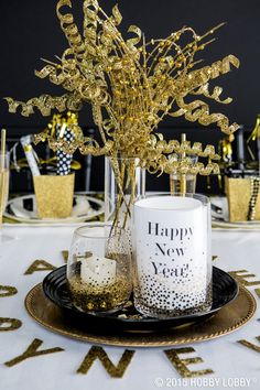Whether you're hosting the chicest soiree or just keeping it casual this New Year's Eve, add some shimmer and shine to your party décor. Try coupling glimmering golds with bright whites and bursts of black for a standout tablescape they'll be talking