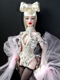 """James Griffen's Lady Gaga Antoinette: """"Basic wigged Antoinette has had her lips and eyeshadow touched up and repainted. Wig is by doll friend Anthony in Hawaii. The wig is from a limited mini collection of 3 that Anthony had made."""" #ladygaga @ladygaga on dollduels.com"""