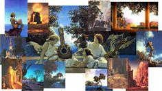 Maxfield Parrish Online Gallery - A Tribute to Maxfield Parrish. surely he lived in a storybook house! Smash Book Challenge, Maxfield Parrish, Painting Courses, School Painting, Online Gallery, Make Me Smile, Whimsical, Illustration Art, Artsy