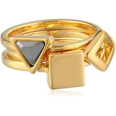 """Trina Turk """"Nature Lab"""" Gold-Plated Geo Midi Stackable Ring, Size 3 ($20) ❤ liked on Polyvore"""