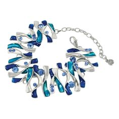 Brooklyn Sapphire Blue Enamel and Light Sapphire Crystal Silver Tone Fashion Bracelet