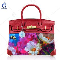 edd4d7698c2b ART PAINT Brikin bag crossbody bags for women 2018 Genuine Leather + Canvas  handbags Purse Art Oil Hand Painted Beauty Colorful Flowers Custom  Gift