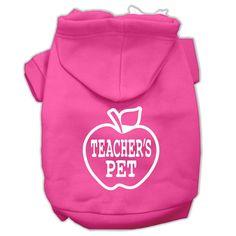 Teachers Pet Screen Print Pet Hoodies Bright Pink Size XL (16)