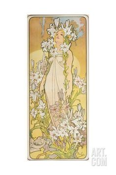 The Flowers: Lily, 1898 Giclee Print by Alphonse Mucha at Art.com