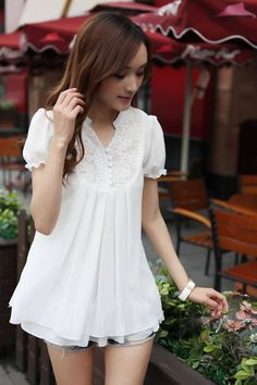 Korean Style Lace Loose V-neck Chiffon Shirt white Korea Fashion, Asian Fashion, Cute Dresses, Short Dresses, White Boho Dress, White Lace, Pink White, Design Your Own Clothes, Cute Blouses