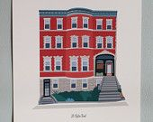 "Custom House Illustration 8""x10"" / House Portrait / Print"