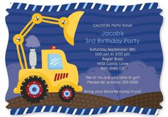 #Construction Truck - Personalized Party Invitations