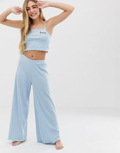 9b44ab5ec52 ASOS DESIGN mix and match ribbed pyjama pants with lettuce hem Trousers,  Pants, Marque