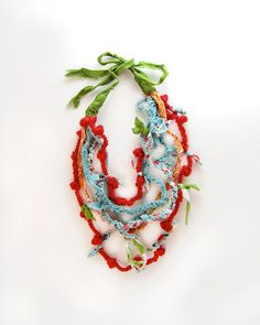 Whimsical Snow Cone Necklace  Fabric Jewelry  by KiteFlier on Etsy, $35.00