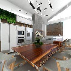 Cozinha Industrial, madeira, mesa de madeira bruta, estilo industrial, concreto aparente, cozinha ilha, kitchen, churrasqueira na cozinha, jana fabiani,