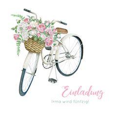Klassisch-moderne Einladungskarte zum Geburtstag mit Aquarell-Zeichnung von einem Fahrrad mit Blumenkorb