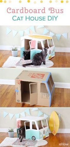 Turn an empty cardboard box into the cutest cat house! This VW Bus cat house makes great decor for your home while giving your kitty a fun place to relax and play! Plus, this cost you next to nothing! #cardboardcathouse