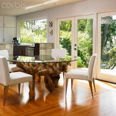 tree root dining table | Glass-Topped Dining Table With Large Tree Root Base; Victoria ...